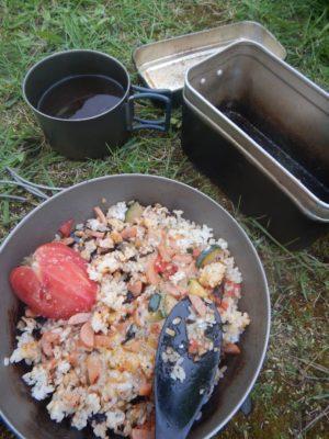 鏡沼キャンプ場での朝食