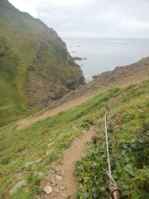アナマ岩に降りる急斜面