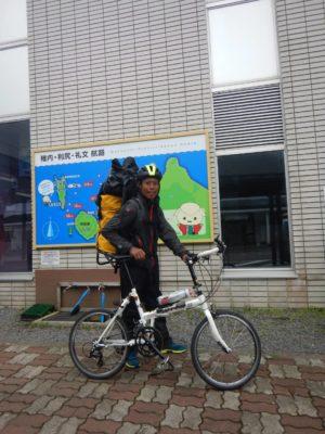 自転車で香深港へ