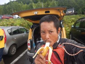 スタート前にバナナ